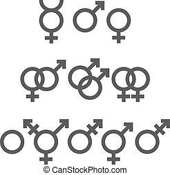símbolos, gênero, pacote