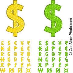 símbolos, garabato, moneda