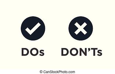 símbolos, haga no, malo, o, iconos, positivo, negativo, bueno
