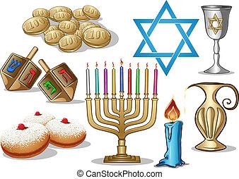 símbolos, hanukkah, paquete