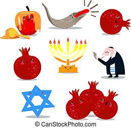símbolos, hashanah, rosh, paquete