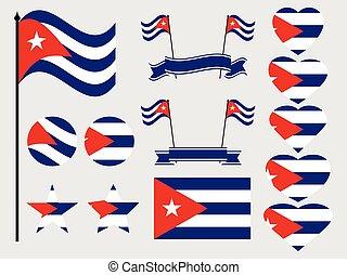 símbolos, heart., cuba, set., cobrança, bandeira, vetorial, ilustração