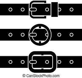 símbolos, hebilla, vector, cinturón negro