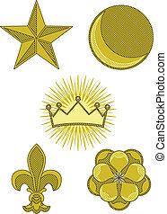 símbolos, heráldica, cinco