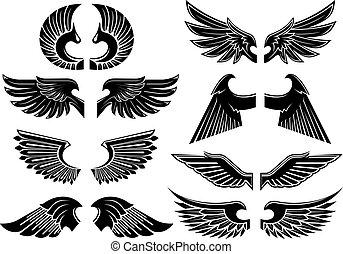 símbolos, heráldico, negro, alas, ángel