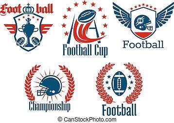 símbolos, heraldic, futebol americano, brincando