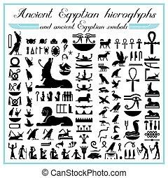 símbolos, hieroglyphs, egípcio