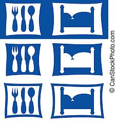 símbolos, hotel, restaurante