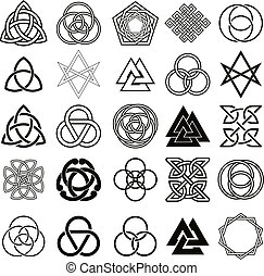símbolos, iconos, conjunto, vector., tatuaje