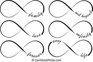 símbolos, infinidade