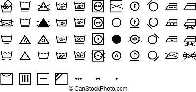símbolos, internacional, lavanderia