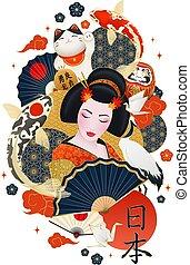 símbolos, japón, composición, cartel