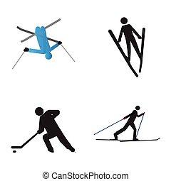 símbolos, jogo, desporto, inverno