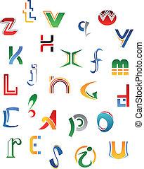 símbolos, jogo, letras, ícones
