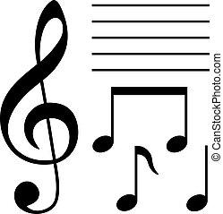símbolos, jogo, musical