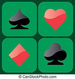 símbolos, juego, tarjeta