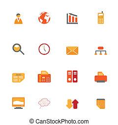 símbolos, laranja, negócio, tons
