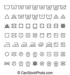 símbolos, lavanderia