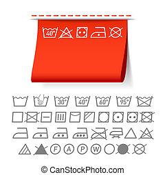 símbolos, lavando