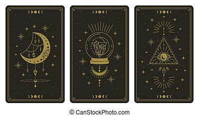 símbolos, lector, espiritual, cristal, vector, tarjetas, ...
