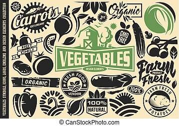 símbolos, legumes, elementos, desenho