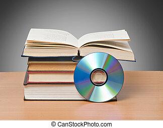 símbolos, libro, nuevo, abierto, dvd, viejo, almacenamiento...