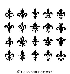 símbolos, lis), heráldico, de, (fleur