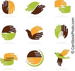 símbolos, mãos, cobrança, ícones
