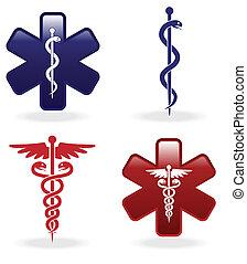 símbolos, médico, jogo