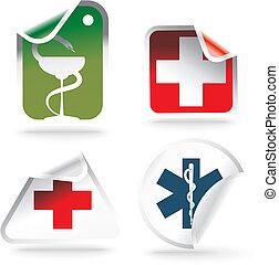 símbolos médicos, ligado, adesivos