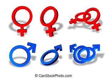 símbolos, macho, femininas, sexo