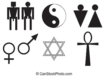 símbolos, macho, femininas