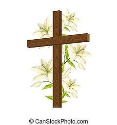 símbolos, madeira, card., silueta, feliz, crucifixos, ou, lilies., fé, páscoa, ilustração religiosa, conceito, saudação