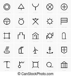 símbolos, mapa, japoneses