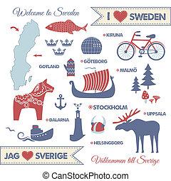 símbolos, mapa, suecia, conjunto