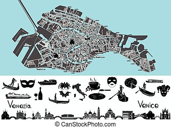 símbolos, mapa, venecia, landmar