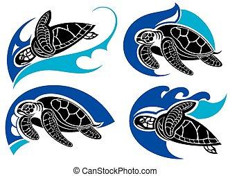 símbolos, mar, .summer, tartaruga