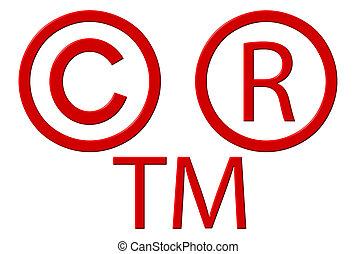 símbolos, marca registrada, propiedad literaria