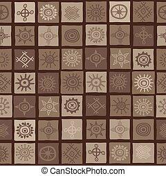 símbolos, marrom, africano, fundo, sol