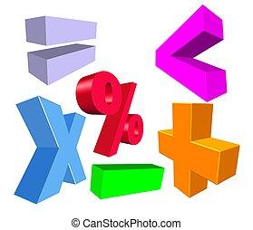 símbolos, matemáticas, 3d