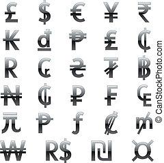 símbolos, moneda, mundo