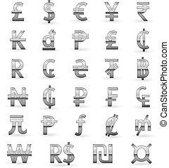 símbolos, moneda, plata