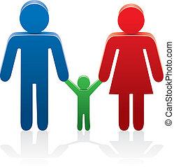 símbolos, mujer, hombre, vector, niño