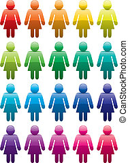 símbolos, mulher, coloridos