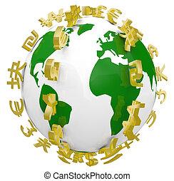 símbolos, mundo, global, ao redor, moeda corrente