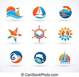 símbolos, náutico, conjunto, mar, iconos