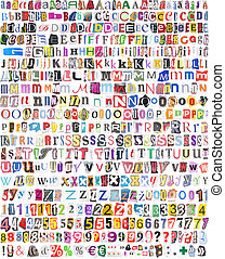 símbolos, números, 516, cartas, alfabeto