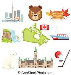 símbolos, nacional, conjunto, canadiense