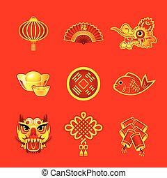 símbolos, novo, chinês, ano