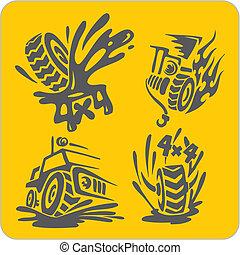 símbolos, off-road, vector, -, conjunto